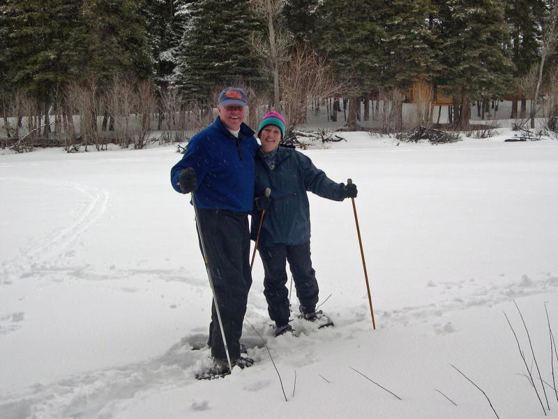 Doug and Vicki Bader snowshoeing