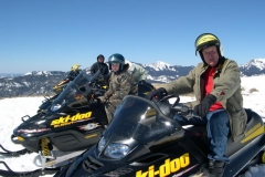 Snowmobilers-Bill Jones and nephew Ramsey on the Continental Divide